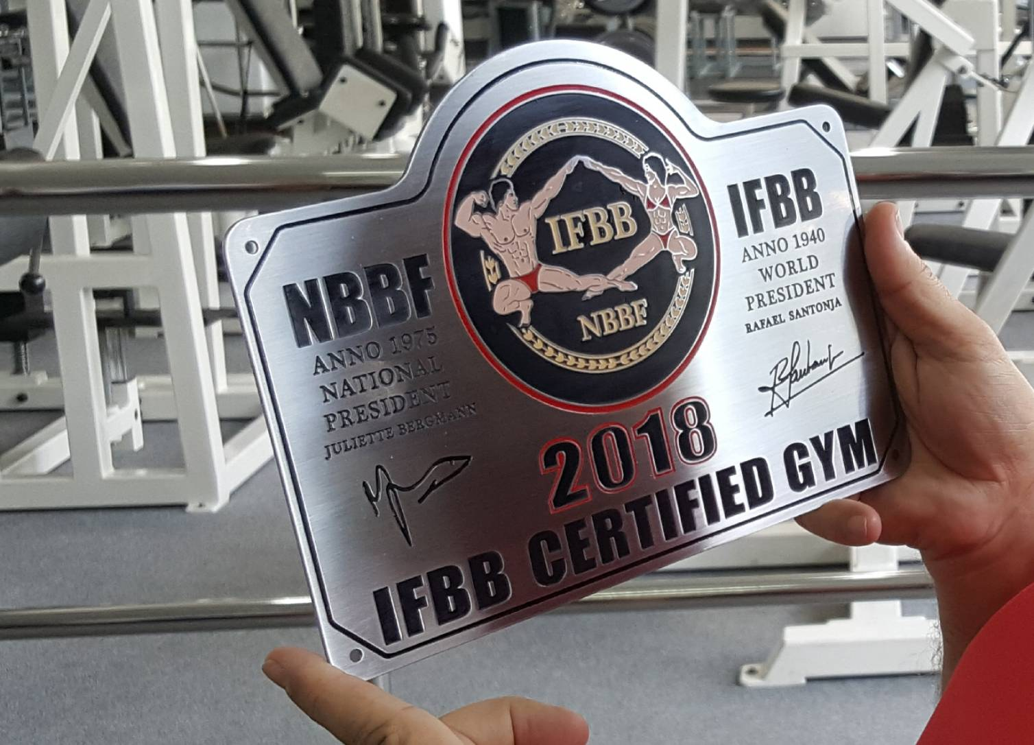 NBBF/IFBB 2018 Certified Gym - Plaquette RVS